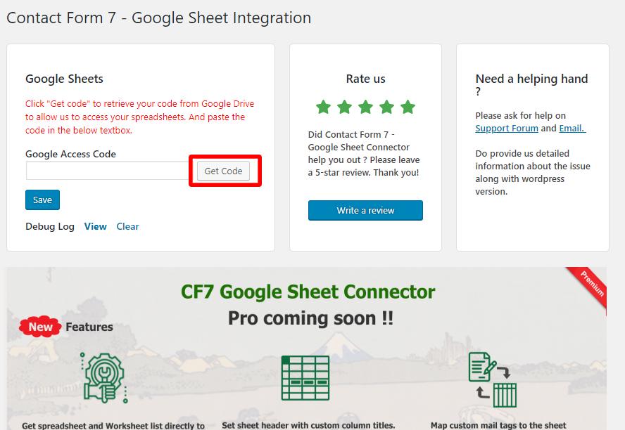 CF7 Google Sheet connector